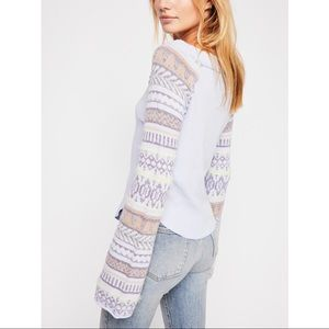Free People NWT Fairground Thermal Top Bell Sleeve
